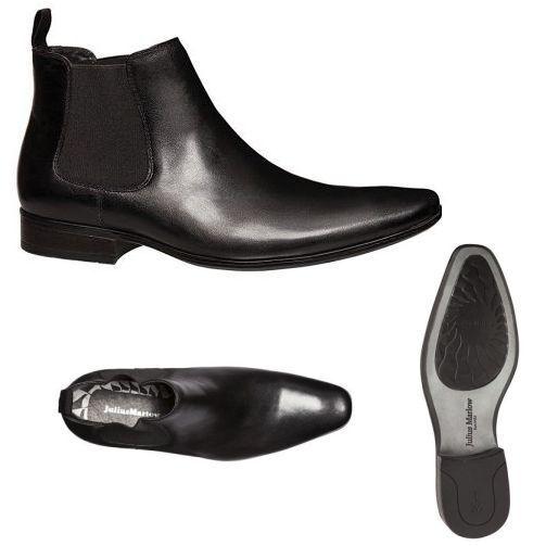 MENS JULIUS MARLOW BRAZEN BLACK LEATHER WORK MEN'S ELASTIC SLIP ON BOOTS