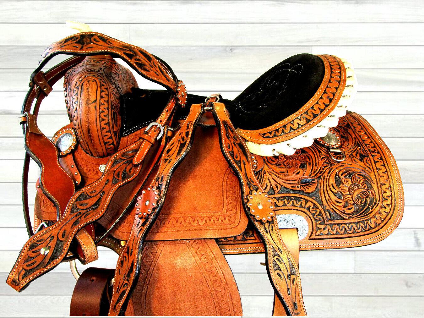 15 16 NEGRO ACOLCHADO ASIENTO vendedor pour caballos barril Racing Trail Silla De Montar Western