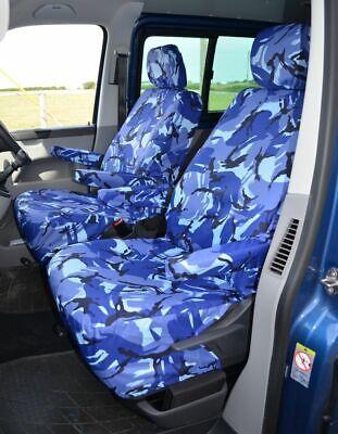 Tailored Azul Camuflaje Camo Frontal cubiertas de asiento Vw Transporter T5 T6 2010