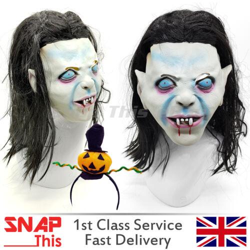 Vampire Mask Hair Cosplay Latex Full Face Horror Adult Halloween Party Killer