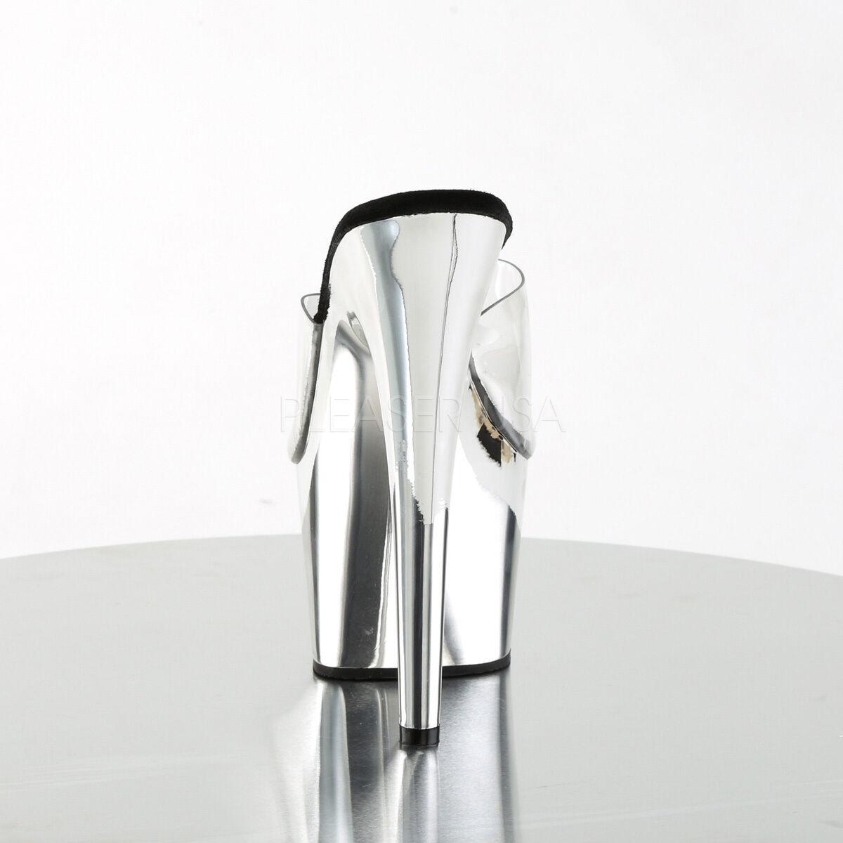 PLEASER Sexy Metallic Silver Chrome Platform 7 7 7  High Heels Stripper Dancer shoes 1c674e