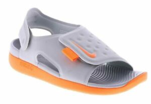 Nike-Sunray-GS-PS-Youth-Adjust-5-Wolf-Grey-Total-Orange-AJ9076-003-Shoes-Sandals