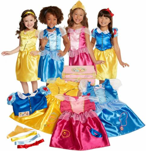 Disney Princess Dress Up Trunk Deluxe 21-Piece Set 4 Character Dresses For Girls