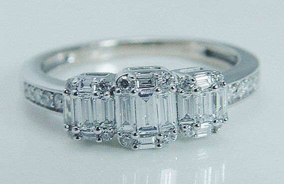 1.50 Ct Baguette Cut Diamond Halo Engagement,Wedding Ring 14K White gold