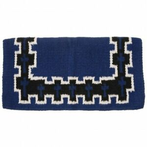 Tough-1-4-Wool-Saddle-Blanket-with-Blue-Crosses-36-034-x-34-034-Horse-Tack-Equine