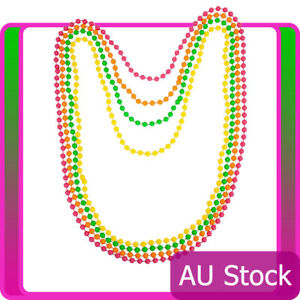 Beaded-Necklace-Ladies-Neon-Assorted-1980s-80s-Disco-80-039-s-Costume-Accessories