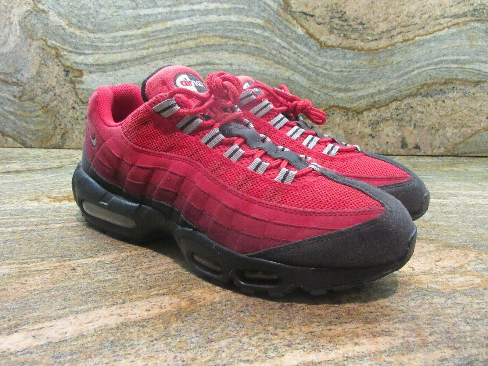2014 Nike Air Max 95 OG SZ 9.5 Dark Ash Team Red Black Silver PRM 609048-202