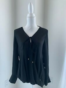 Derek Lam 10 Crosby Black Silk Draped Long Sleeve V Neck Blouse SZ 6 S
