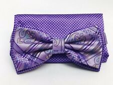 Stacy Adams Bow Tie & Hanky Set Purple Lilac Yellow Teal Multi Design Men's