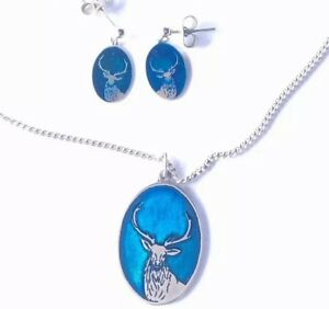VINTAGE SCOTTISH SILVER BLUE ENAMEL STAG PENDANT MATCHING DROP EARRINGS Boxed