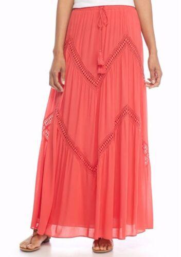 $98 Sophie Max Studio 6B02J19 Coral Boho Crochet Trim Drawstring Maxi Skirt