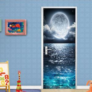 3D Ocean Moon Self-Adhesive Bedroom Door Murals Wall Stickers Wallpaper Decal
