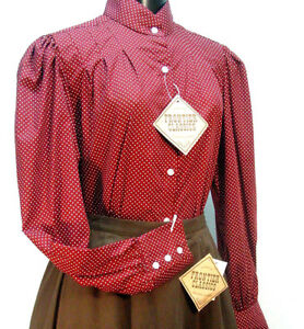 Victorian-Frontier-burgundy-polka-dot-Vintage-style-blouse-sizes-S-3X-new