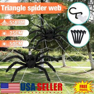 20-039-Giant-Halloween-Spider-With-200-039-Triangle-Halloween-Spider-Web-Decorations