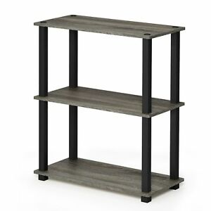 Furinno 18025GYW/BK Turn-S-Tube 3 Compact Multipurpose Shelf with Square,