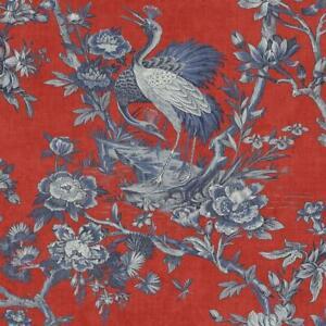 Wallpaper Designer Large Navy Blue Crane Toile Floral on Red Background