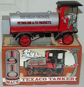 Diecast-Metal-ERTL-Collectibles-1910-Mack-Texaco-Tanker-Coin-Bank