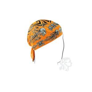 Zan Headgear FlyDanna Orange Tribal Skull Bandanna Z669