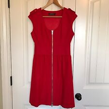 Club Monaco Red Wool Full Zip Dress Size 2