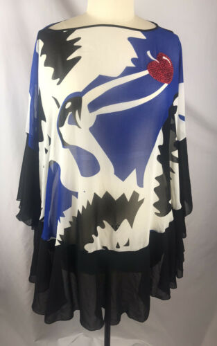 Women's Boutique Tunic Plus Sheer Abstract Hi-low