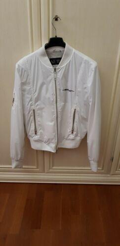 Foderata Giacca Giubbetto Donna Bomber Bianco Jeans 44 Armani 1BB08x