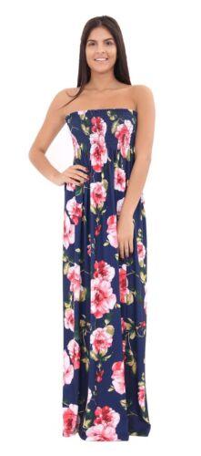 Womens Strapless Printed Sheering Maxi Dress Ladies Boob tube Bandeau Long 8-22