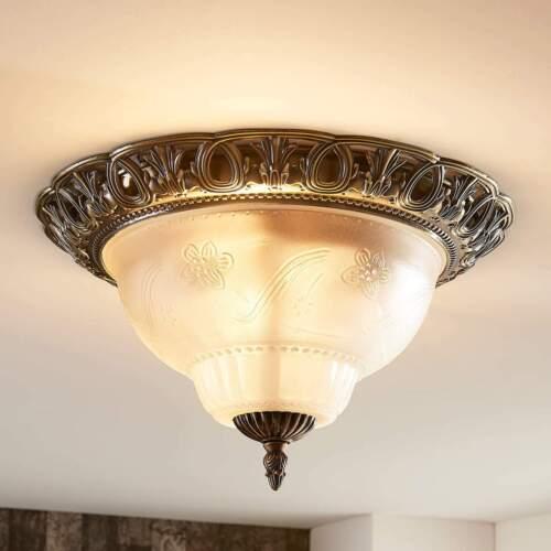Deckenleuchte Anni Messingfarben Glas Geätzt Klassisch Lampenwelt Deckenlampe