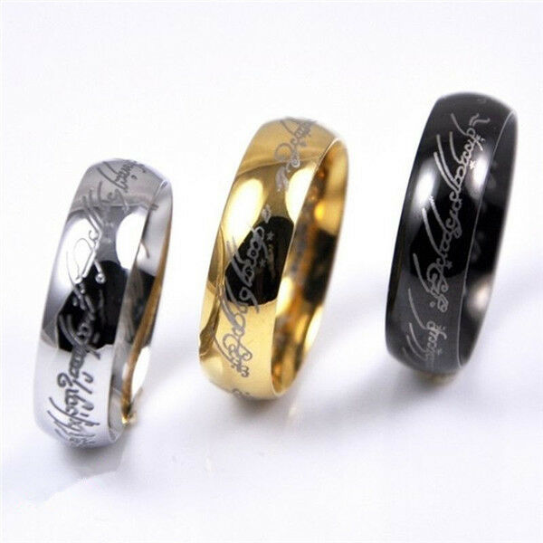 Hot Lord of the Rings Stainless Steel Mens Women Band Ring Gold/Black Color New