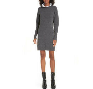 Sandro-Sweater-Dress-36-Ancolie-Gray-White-Eyelet-Collar-Women-s-Long-Sleeve