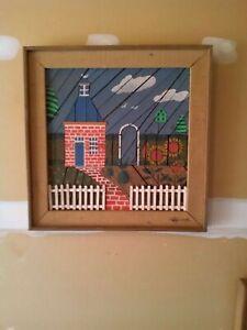 Degroot-Lath-Art-Brick-House-Unique-Piece-Artist-Signed