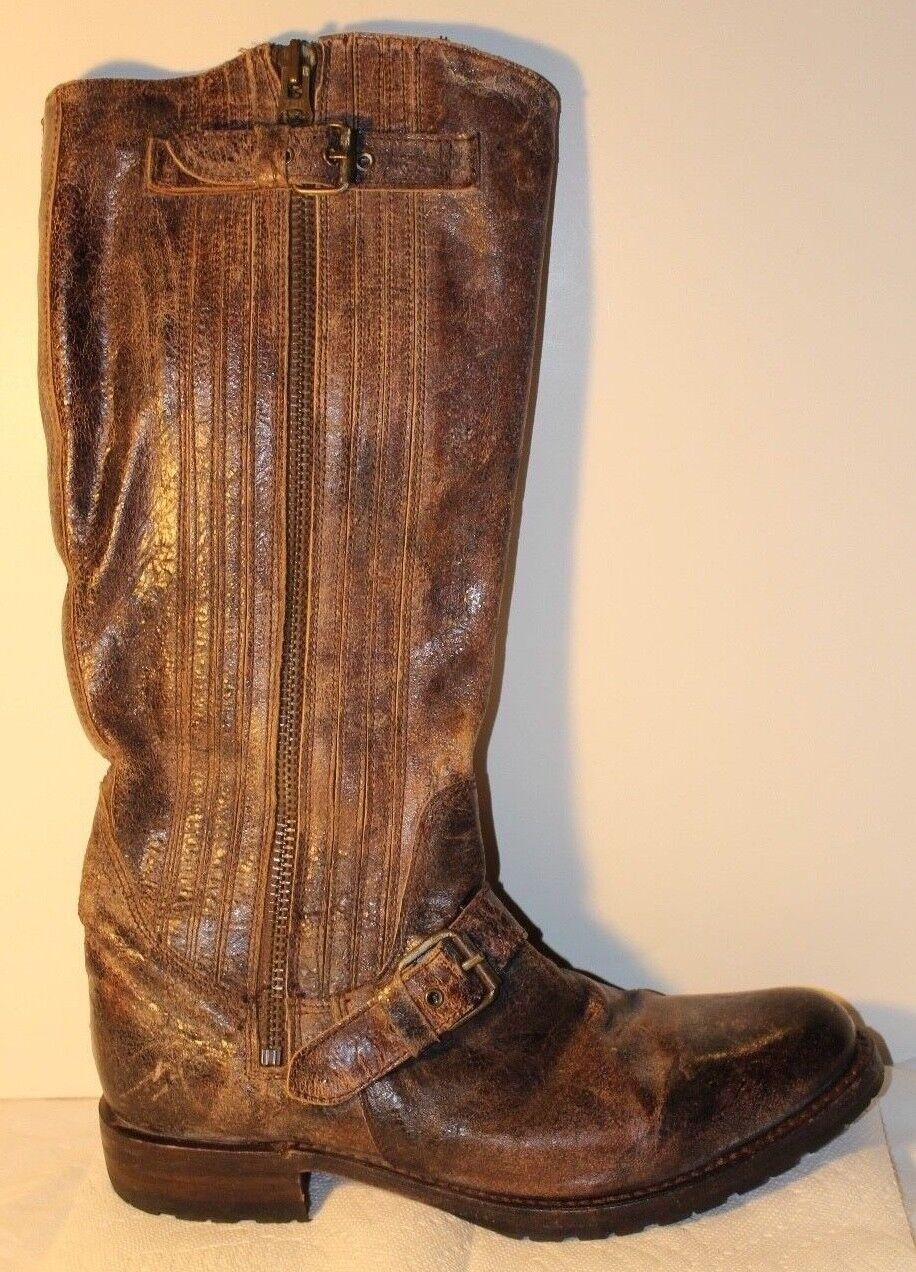 vendita online risparmia il 70% SENDRA SENDRA SENDRA Marrone Distressed Crackled Leather Knee-High Engineer donna stivali 10 M  prezzi equi
