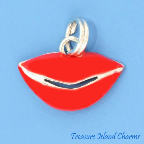 Red Enamel Lips Kiss Lipstick Kissing Mouth .925 Sterling Silver Charm Smile