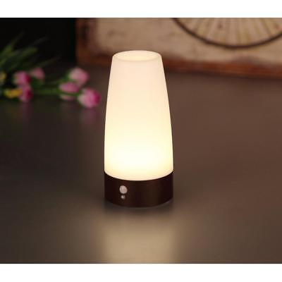 Wooden Base Auto Wireless PIR Motion Sensor LED Night Light Table Lamp Round
