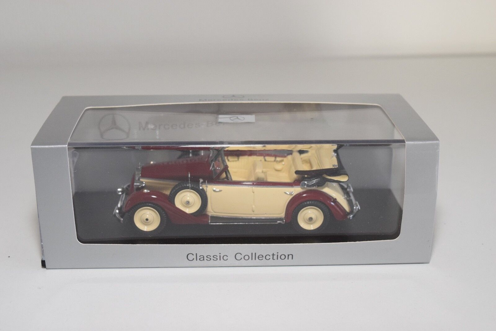 F SPARK MERCEDES-BENZ 320 CABRIOLET D MAROON CREAM MINT BOXED
