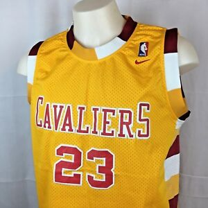 best loved 642fc a3b9b Details about LeBron James Cleveland Cavaliers Jersey Nike NBA Cavs Length  +2 Gold Large EUC