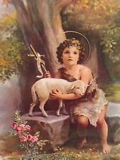 JESUS CHILD WITH LAMB Linen Print Cromo Italy Ready Frame 8 x 10 Vintage style