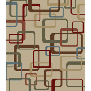 Squares Area Rug Large Modern Contemporary Beige Blue Green Brown 8x10 5x7 Ebay