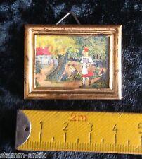 altes kleines Bild,Blechrahmen,Märchenbild,Rotkäppchen,Zubehör,Puppenstube Küche