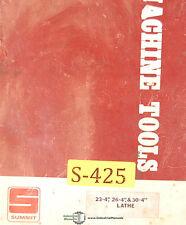 Summit 4 23 4 26 Amp 30 4 Lathe Service Maintenanc3e And Parts Manual 1974