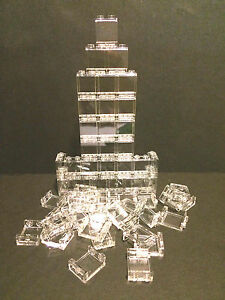 LEGO-New-Lot-of-25-Clear-Transparent-Wall-Elements-1x2x2-Trans-White-Window