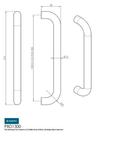 Eurospec Steelworx D Pull Handles Carlisle Brass PAD//PFD//PBD//PCD