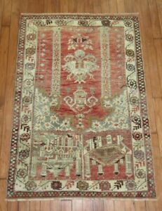 Vintage Unusual Turkish Oushak Prayer Rug Size 2'9''x4' Antiques