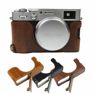 PU Leather Half Body Set Cover For FujiFilm Fuji X100V X-100V Camera Bottom Case