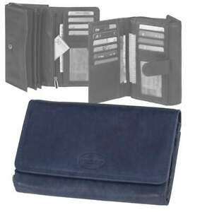 Greenburry-Leder-Geldbeutel-Damen-blau-Geldboerse-mit-14-Kartenfaechern-Portemonna