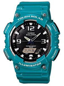 Casio Classic Watch * AQS810WC-3AV Solar Anadigi Green