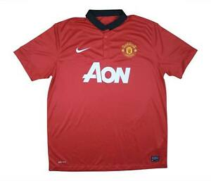 Manchester-United-2013-14-Authentic-Home-Shirt-eccellente-XL-soccer-jersey