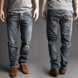 Nudie Herren Regular Straight Fit Bio Denim Jeans Hose - Hank Rey Org. Contrast