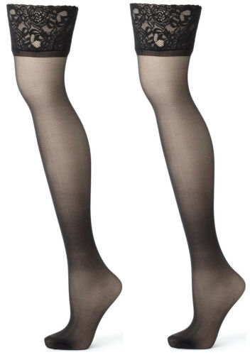 Details about  /Premium Ladder Resist Luxurious Sheer Leg Lace Top Hold Ups BHS