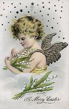 1908 Beautiful Charming Easter Cherub Embossed Postcard, Gold Wings & Stars