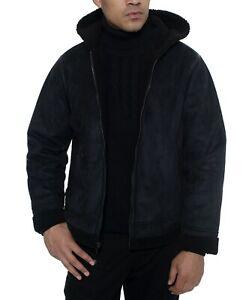 Sean-John-Men-039-s-Faux-Shearling-Hooded-Bomber-Jacket-Black-Size-Medium